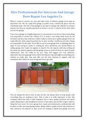 Hire Professionals For Intercom And Garage Door Repair Los Angeles Ca.docx
