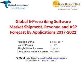 Global E-Prescribing Software Market Shipment, Revenue and ASP Forecast by Applications 2017-2022.pptx