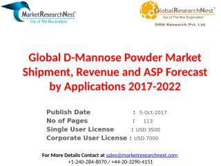 Global D-Mannose Powder Market Shipment, Revenue and ASP Forecast by Applications 2017-2022.pptx
