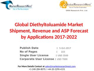 Global Diethyltoluamide Market Shipment, Revenue and ASP Forecast by Applications 2017-2022.pptx